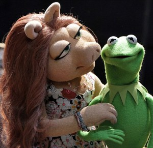 The Muppets. Kermit the Frog has a new girlfriend, Denise, after splitting from long term love Miss Piggy. Pictured Kermit and Denise who is his new girlfriend Image grab from internet - for Nikki http://muppet.wikia.com/wiki/Denise